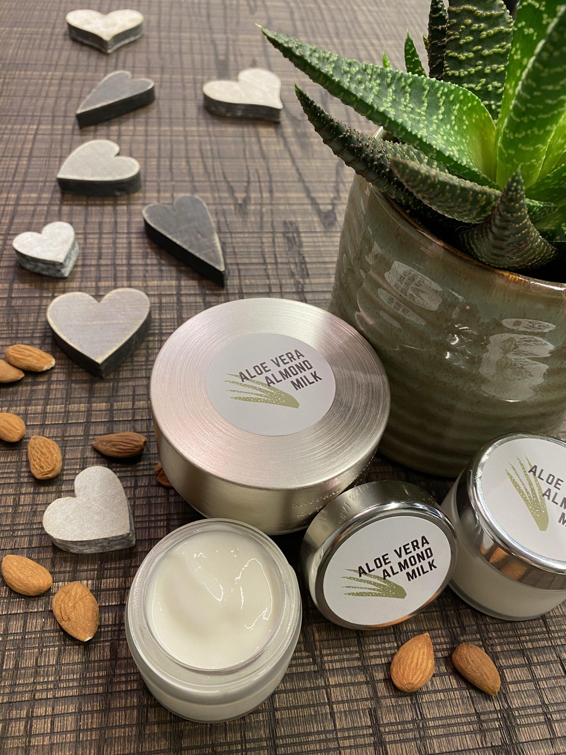 Tiegel der Aloe Vera Gesichtscreme mit Milch und Mandelöl mit Mandeln, weißen und grauen Herzen sowie einer Sukkulente im grünen Übertopf.